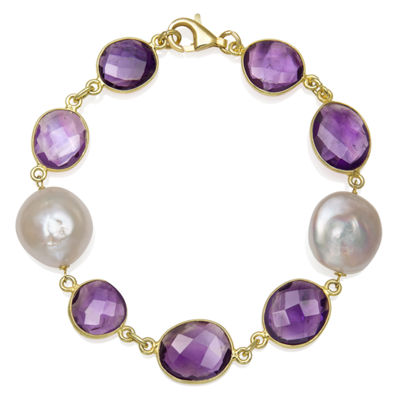 Womens 7.5 Inch Simulated Purple Quartz 14K Gold Over Silver Link Bracelet