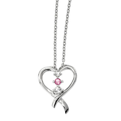 Survivor Collection Genuine Clear & Pink Swarovski Topaz Sterling Silver Heart of Resilience Necklace