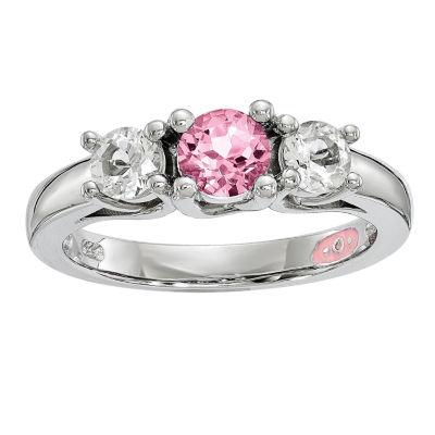 Survivor Collection Womens Genuine Pink Topaz 3-Stone Cocktail Ring