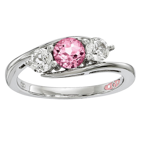 Survivor Collection Womens Genuine Pink Topaz Sterling Silver 3 Stone Cocktail Ring