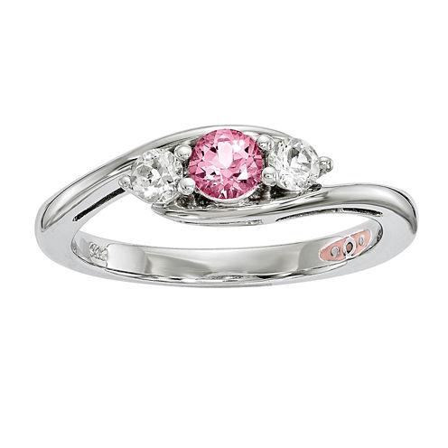 Survivor Collection Genuine Clear & Pink Swarovski Topaz Sterling Silver Sue Ring