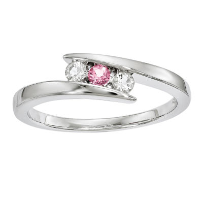 Survivor Collection Genuine Clear & Pink Swarovski Topaz Sterling Silver Circle of Strength Ring
