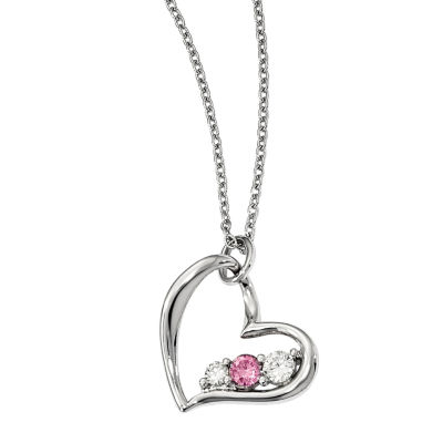 Survivor Collection Womens Genuine Pink Topaz Heart Pendant Necklace