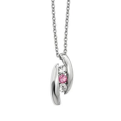 Survivor Collection Genuine Clear &Pink Swarovski Topaz Sterling Silver Pillar of Strength Necklace