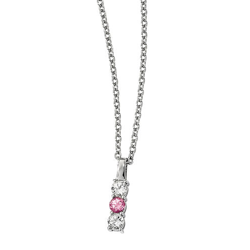 Survivor Collection Genuine Clear & Pink Swarovski Topaz Sterling Silver Drop of Courage Necklace