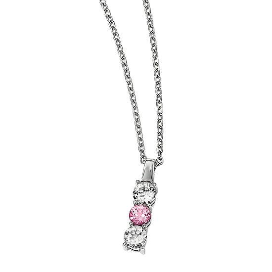 Survivor Collection Womens Genuine Pink Topaz Sterling Silver Pendant Necklace