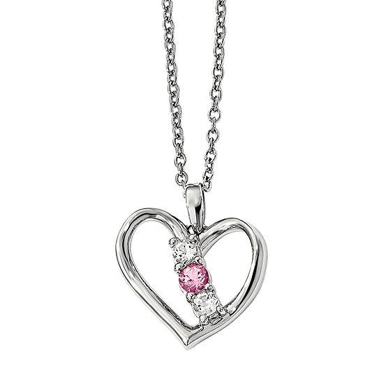 Survivor Collection Womens Genuine Pink Topaz Sterling Silver Heart Pendant Necklace