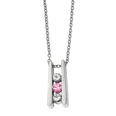 Survivor Collection Genuine Clear & Pink Swarovski Topaz Sterling Silver Grateful Necklace