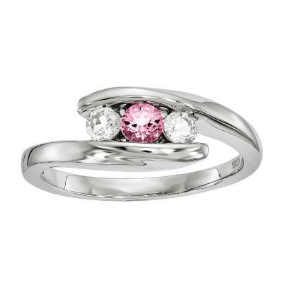 Survivor Collection Genuine Clear & Pink Swarovski Topaz Sterling Silver Journey Ring
