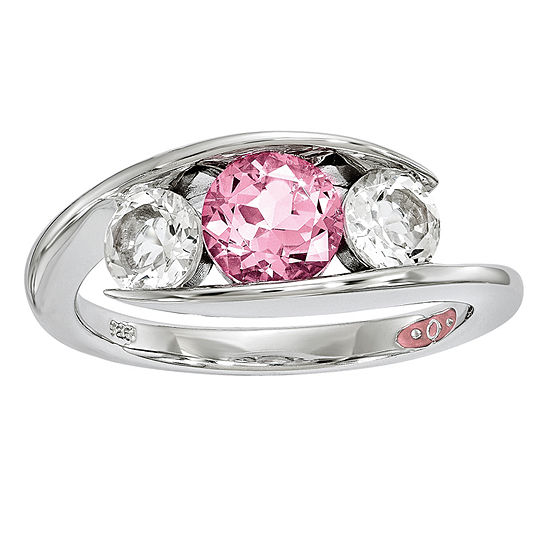 Survivor Collection Womens Genuine Pink Topaz Sterling Silver 3-Stone Cocktail Ring