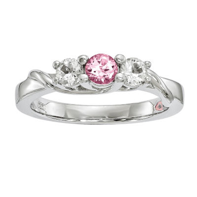 Survivor Collection Womens Pink Topaz Sterling Silver 3-Stone Cocktail Ring