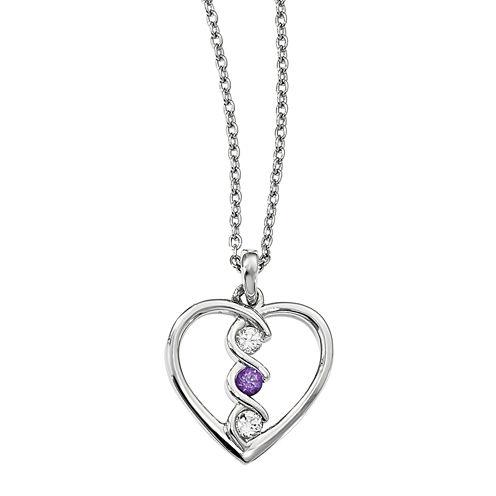 Survivor Collection Genuine Clear & Purple Swarovski Topaz Sterling Silver Heart of Inspiration Necklace