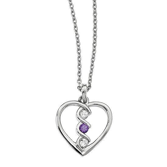Survivor Collection Womens Genuine Purple Topaz Sterling Silver Heart Pendant Necklace