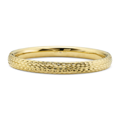 Gold Opulence 14K Gold Over Diamond Resin Diamond-Cut Bangle