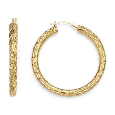 Gold Opulence 14K Gold Over Diamond Resin Diamond-Cut Hoop Earrings