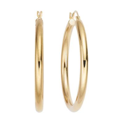 Gold Opulence 14K Gold Over Diamond Resin PolishedHoop Earrings