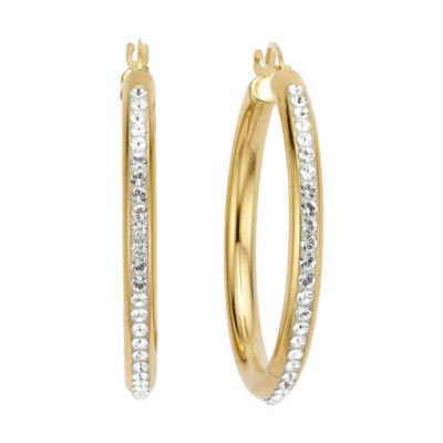 Gold Opulence 14K Gold Over Diamond Resin Round Crystal Hoop Earrings