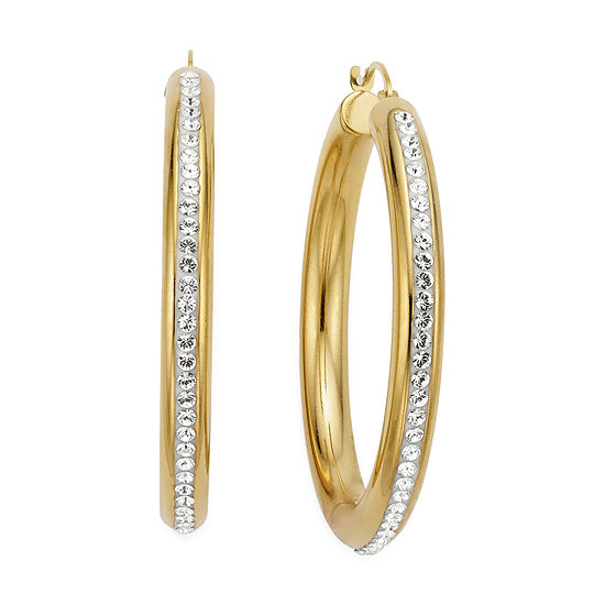 Gold Once 14k Over Diamond Resin Round Crystal Hoop Earrings