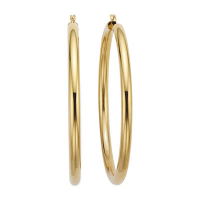 Gold Opulence 14K Gold Over Diamond Resin Jumbo Polished Hoop Earrings