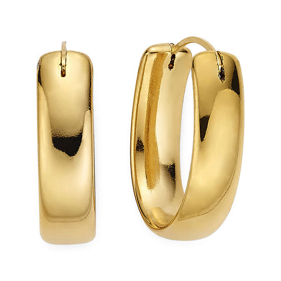 Gold Opulence 14K Gold Over Diamond Resin Oval Polished Hoop Earrings