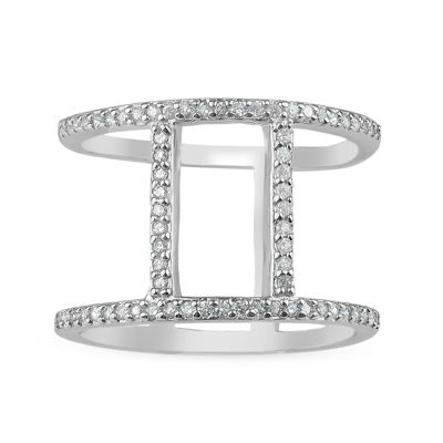 Womens White Cubic Zirconia Sterling Silver Cocktail Ring