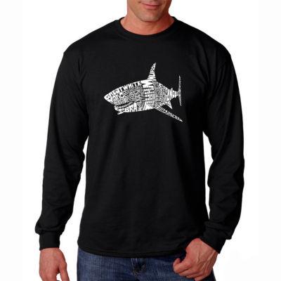 Los Angeles Pop Art Long Sleeve Species of Shark Word Art T-Shirt