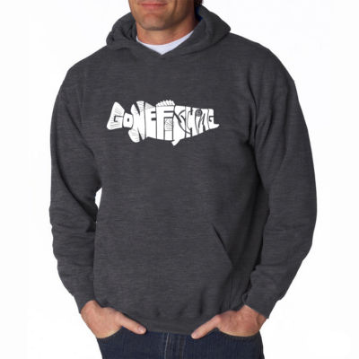 Los Angeles Pop Art Gone Fishing Long Sleeve WordArt Hoodie