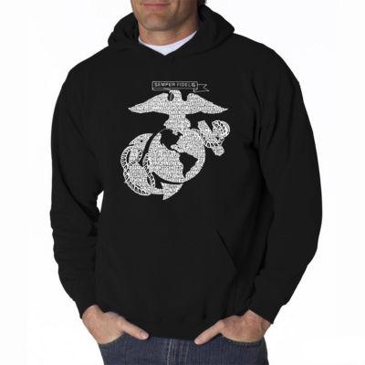 Los Angeles Pop Art Lyrics to the Marines Hymn Long Sleeve Word Art Hoodie