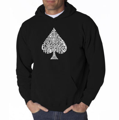 Los Angeles Pop Art Order of Winning Poker Hands Long Sleeve Word Art Hoodie