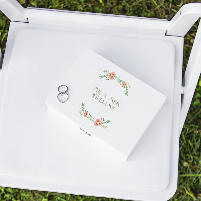Cathy's Concepts Personalized Floral Wedding Ring Bearer Box