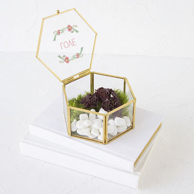 Cathy's Concepts Floral Love Gold Glass Keepsake Box