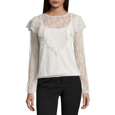 Worthington Long Sleeve Lace Ruffle Blouse