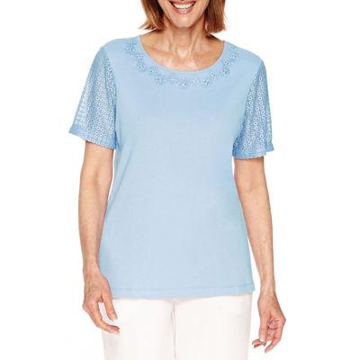 Alfred Dunner Short Sleeve Crew Neck T-Shirt-Womens