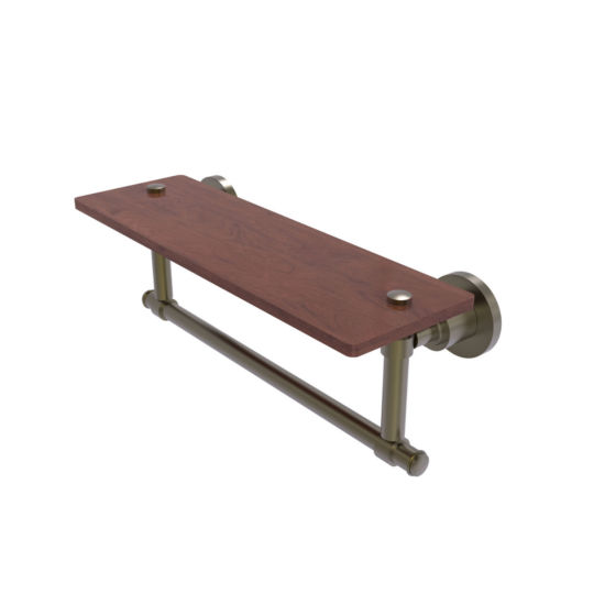 Allied Brass Washington Square Collection 16 IN Solid Ipe Ironwood Shelf With Integrated Towel Bar