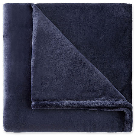 JCPenney Home Velvet Plush Solid Throw, One Size , Blue
