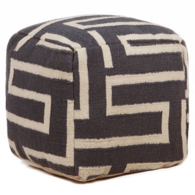 Chandra Geo Textured Square Wool Pouf Ottoman