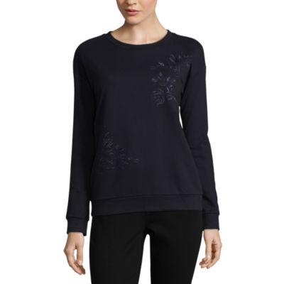 Liz Claiborne Long Sleeve Sweatshirt-Talls