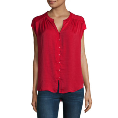 Liz Claiborne Short Sleeve Woven Blouse-Talls