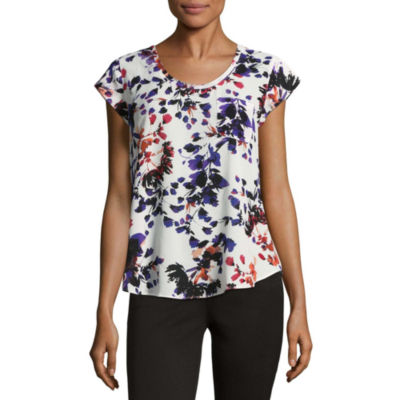 Liz Claiborne Short Sleeve Floral T-Shirt- Talls