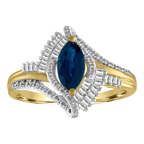Womens 1/5 CT. T.W. Diamond & Genuine Blue Sapphire 10K Gold Cocktail Ring