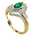 Womens 1/5 CT. T.W. Diamond & Genuine Emerald 10K Gold Cocktail Ring