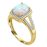 Womens 10K Gold Lab-Created Opal & 1/5 CT. T.W. Diamond Cocktail Ring