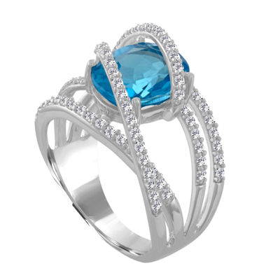 Womens Genuine Blue Topaz & Lab-Created White Sapphires Sterling Silver Cocktail Ring