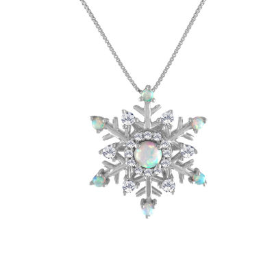 Lab-Created Opal & Lab-Created White Sapphire Sterling Silver Snowflake Pendant Necklace