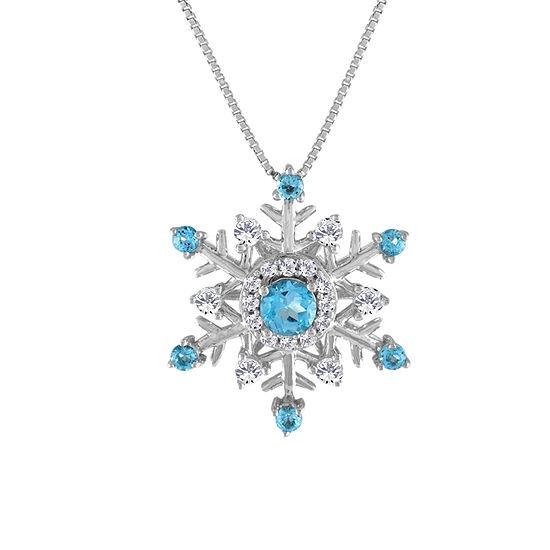 Womens Genuine Blue Topaz & Lab-Created White Sapphire Snowflake Pendant Necklace