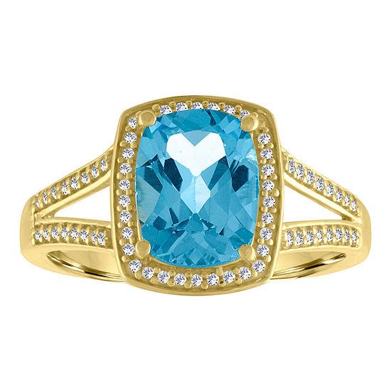 Womens 10K Gold Genuine Blue Topaz & 1/5 CT. T.W. Diamond Cocktail Ring