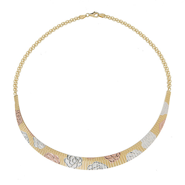 Made In Italy Womens 18 Inch 14K Sterling Silver Gold Over Silver Link Necklace
