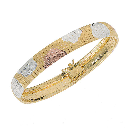 Made in Italy 14K Tri-Color Gold Over Silver 7.5 Inch Omega Link Bracelet