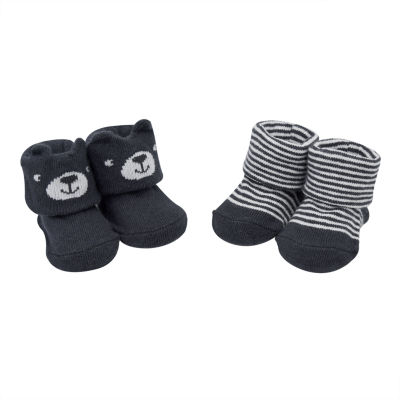 Carter's 2 Pack Bear & Stripe Pull On Booties - Baby Boy