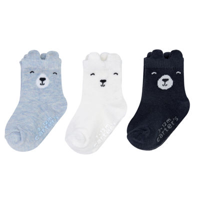 Carter's Blue Bear 3-pk. Crew Socks - Baby Boy